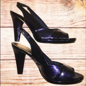 Antonio Melani blue heels 8 1/2 open toe slingback